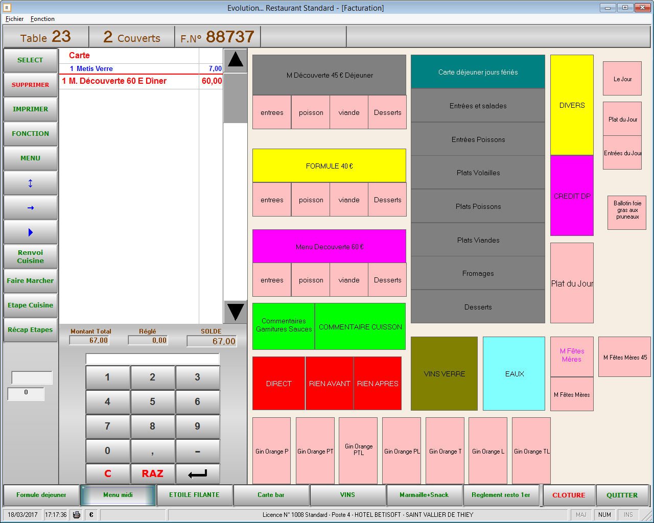 Facturation logiciel Evolution Restaurant Betisoft
