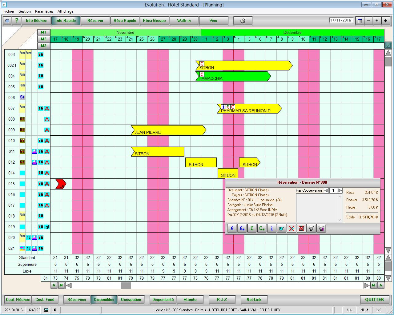 Planning logiciel Evolution Hôtel Betisoft