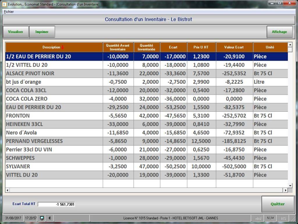 Inventaire dans le logiciel Economat