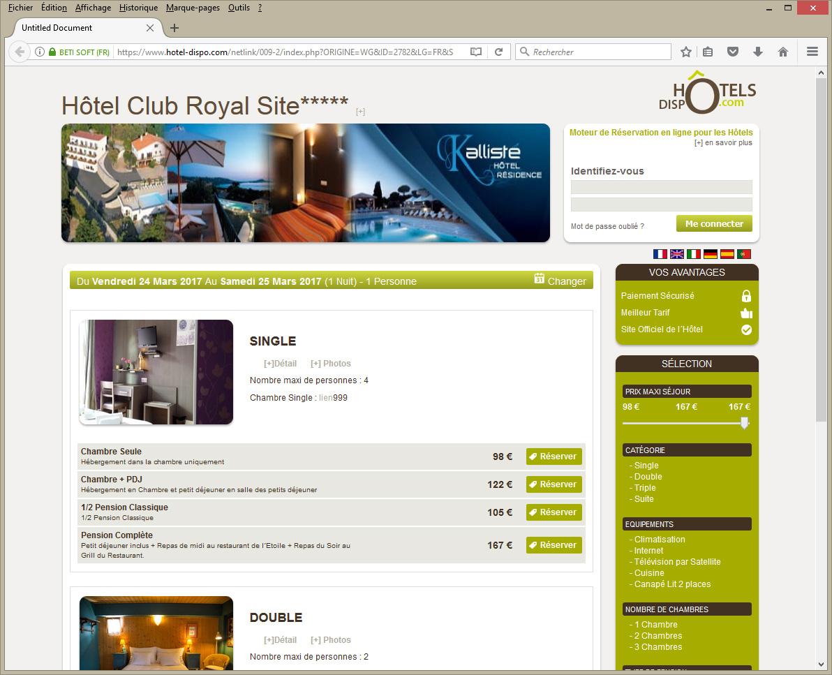 Page internet de reservation en ligne de Betisoft